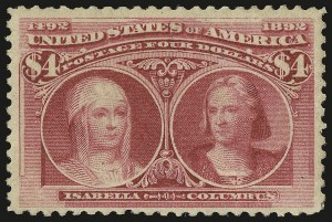 Sale Number 946, Lot Number 715, 1893 Columbian Issue (Scott 230-245)$4.00 Columbian (244), $4.00 Columbian (244)