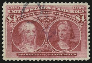 Sale Number 946, Lot Number 716, 1893 Columbian Issue (Scott 230-245)$4.00 Columbian (244), $4.00 Columbian (244)