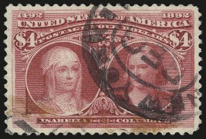 Sale Number 946, Lot Number 717, 1893 Columbian Issue (Scott 230-245)$4.00 Columbian (244), $4.00 Columbian (244)