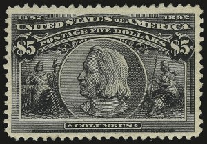 Sale Number 946, Lot Number 722, 1893 Columbian Issue (Scott 230-245)$5.00 Columbian (245), $5.00 Columbian (245)