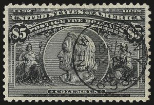 Sale Number 946, Lot Number 728, 1893 Columbian Issue (Scott 230-245)$5.00 Columbian (245), $5.00 Columbian (245)
