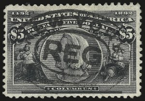 Sale Number 946, Lot Number 729, 1893 Columbian Issue (Scott 230-245)$5.00 Columbian (245), $5.00 Columbian (245)