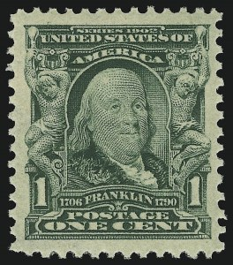 Sale Number 946, Lot Number 839, 1902-08 Issues (Scott 300-322)1c Blue Green (300), 1c Blue Green (300)