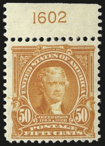 Sale Number 946, Lot Number 848, 1902-08 Issues (Scott 300-322)50c Orange (310), 50c Orange (310)