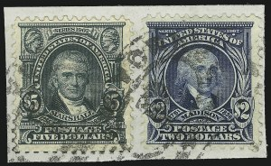 Sale Number 946, Lot Number 861, 1902-08 Issues (Scott 300-322)$2.00 Dark Blue, $5.00 Dark Green (312, 313), $2.00 Dark Blue, $5.00 Dark Green (312, 313)