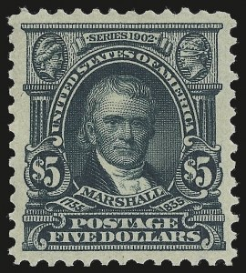 Sale Number 946, Lot Number 862, 1902-08 Issues (Scott 300-322)$5.00 Dark Green (313), $5.00 Dark Green (313)