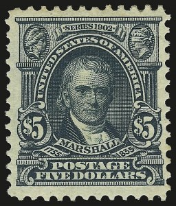 Sale Number 946, Lot Number 863, 1902-08 Issues (Scott 300-322)$5.00 Dark Green (313), $5.00 Dark Green (313)