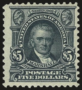 Sale Number 946, Lot Number 866, 1902-08 Issues (Scott 300-322)$5.00 Dark Green (313), $5.00 Dark Green (313)
