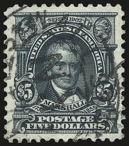 Sale Number 946, Lot Number 867, 1902-08 Issues (Scott 300-322)$5.00 Dark Green (313), $5.00 Dark Green (313)