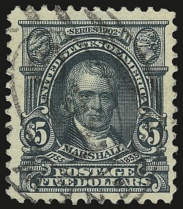 Sale Number 946, Lot Number 870, 1902-08 Issues (Scott 300-322)$5.00 Dark Green (313), $5.00 Dark Green (313)