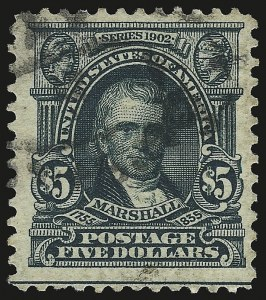 Sale Number 946, Lot Number 871, 1902-08 Issues (Scott 300-322)$5.00 Dark Green (313), $5.00 Dark Green (313)