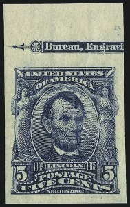 Sale Number 946, Lot Number 874, 1902-08 Issues (Scott 300-322)5c Blue, Imperforate (315), 5c Blue, Imperforate (315)