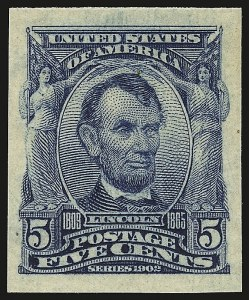 Sale Number 946, Lot Number 875, 1902-08 Issues (Scott 300-322)5c Blue, Imperforate (315), 5c Blue, Imperforate (315)