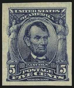 Sale Number 946, Lot Number 877, 1902-08 Issues (Scott 300-322)5c Blue, Imperforate (315), 5c Blue, Imperforate (315)
