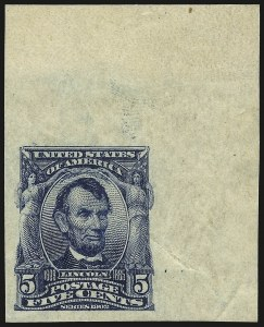 Sale Number 946, Lot Number 878, 1902-08 Issues (Scott 300-322)5c Blue, Imperforate (315), 5c Blue, Imperforate (315)