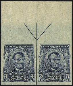 Sale Number 946, Lot Number 879, 1902-08 Issues (Scott 300-322)5c Blue, Imperforate (315), 5c Blue, Imperforate (315)