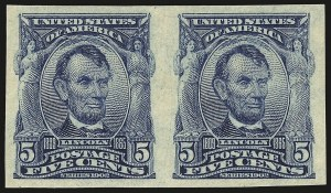 Sale Number 946, Lot Number 881, 1902-08 Issues (Scott 300-322)5c Blue, Imperforate (315), 5c Blue, Imperforate (315)