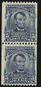 Sale Number 946, Lot Number 883, 1902-08 Issues (Scott 300-322)5c Blue, Coil (317), 5c Blue, Coil (317)