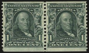 Sale Number 946, Lot Number 884, 1902-08 Issues (Scott 300-322)1c Blue Green, Coil (318), 1c Blue Green, Coil (318)