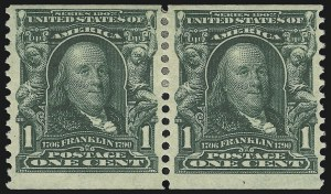 Sale Number 946, Lot Number 885, 1902-08 Issues (Scott 300-322)1c Blue Green, Coil (318), 1c Blue Green, Coil (318)