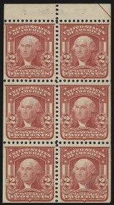 Sale Number 946, Lot Number 889, 1902-08 Issues (Scott 300-322)2c Carmine, Ty. I, Booklet Pane of Six (319g), 2c Carmine, Ty. I, Booklet Pane of Six (319g)