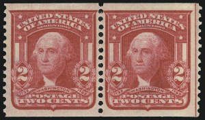 Sale Number 946, Lot Number 892, 1902-08 Issues (Scott 300-322)2c Carmine, Coil (322), 2c Carmine, Coil (322)
