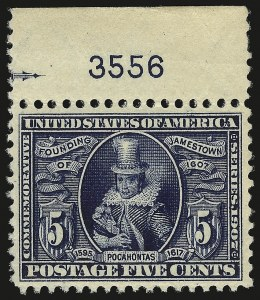 Sale Number 946, Lot Number 902, 1907 Jamestown Issue (Scott 328-330)5c Jamestown (330), 5c Jamestown (330)