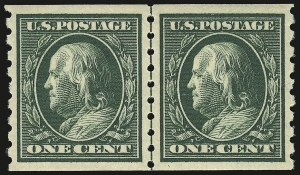 Sale Number 946, Lot Number 985, 1910-13 Washington-Franklin Issue (Scott 374-396)1c Green, Coil (392), 1c Green, Coil (392)