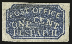 Sale Number 947, Lot Number 24, Baltimore Carrier Department IssuesBaltimore Md., 1c Blue on Laid (1LB3a), Baltimore Md., 1c Blue on Laid (1LB3a)