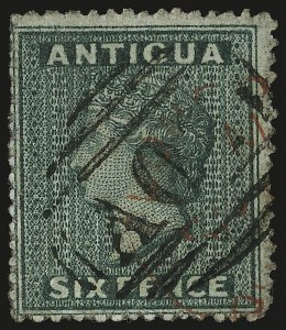 Sale Number 949, Lot Number 1002, Albania thru ArgentinaANTIGUA, 1862, 6p Blue Green, No Wmk., Rough Perf 14-16 (1; SG 1), ANTIGUA, 1862, 6p Blue Green, No Wmk., Rough Perf 14-16 (1; SG 1)