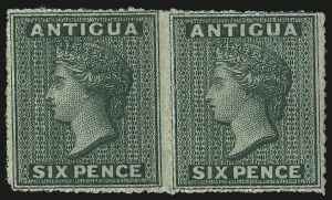 Sale Number 949, Lot Number 1003, Albania thru ArgentinaANTIGUA, 1862, 6p Blue Green, No Wmk., Rough Perf 14-16 (1; SG 1), ANTIGUA, 1862, 6p Blue Green, No Wmk., Rough Perf 14-16 (1; SG 1)