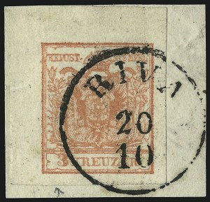 Sale Number 949, Lot Number 1006, AustriaAUSTRIA, 1854, 3kr Red, Ty. IIIa, Machine Paper (3e), AUSTRIA, 1854, 3kr Red, Ty. IIIa, Machine Paper (3e)