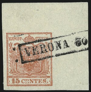 Sale Number 949, Lot Number 1014, AustriaAUSTRIA, Lombardy-Venetia, 1850, 15c Red, Ty. I (4b), AUSTRIA, Lombardy-Venetia, 1850, 15c Red, Ty. I (4b)