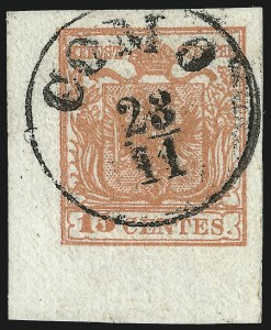 Sale Number 949, Lot Number 1015, AustriaAUSTRIA, Lombardy-Venetia, 1850, 15c Red, Ty. II, Ribbed Paper (4c), AUSTRIA, Lombardy-Venetia, 1850, 15c Red, Ty. II, Ribbed Paper (4c)