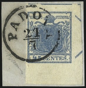 Sale Number 949, Lot Number 1016, AustriaAUSTRIA, Lombardy-Venetia, 1850, 45c Blue, Ty. I (6a), AUSTRIA, Lombardy-Venetia, 1850, 45c Blue, Ty. I (6a)