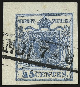 Sale Number 949, Lot Number 1017, AustriaAUSTRIA, Lombardy-Venetia, 1850, 45c Blue, Ty. I (6a), AUSTRIA, Lombardy-Venetia, 1850, 45c Blue, Ty. I (6a)