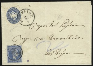 Sale Number 949, Lot Number 1018, AustriaAUSTRIA, Lombardy-Venetia, 1864, 10s Blue, Perf 9-1/2 (23), AUSTRIA, Lombardy-Venetia, 1864, 10s Blue, Perf 9-1/2 (23)