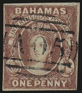 Sale Number 949, Lot Number 1019, Bahamas thru British GuianaBAHAMAS, 1859, 1p Reddish Lake 1a; SG 1), BAHAMAS, 1859, 1p Reddish Lake 1a; SG 1)