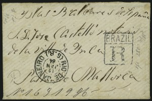 Sale Number 949, Lot Number 1022, Bahamas thru British GuianaBRAZIL, Don Pedro Issue Covers, BRAZIL, Don Pedro Issue Covers