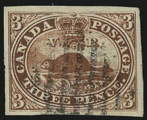 Sale Number 949, Lot Number 1030, Canada1852, 3p Brown Red, Wove (4a), 1852, 3p Brown Red, Wove (4a)