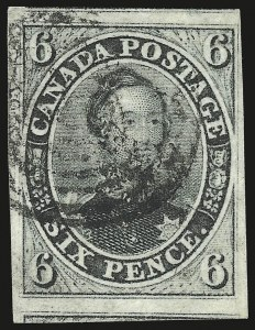Sale Number 949, Lot Number 1031, Canada1855, 6p Slate Gray, Wove (5; SG 9), 1855, 6p Slate Gray, Wove (5; SG 9)