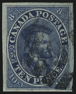 Sale Number 949, Lot Number 1033, Canada1855, 10p Blue (7), 1855, 10p Blue (7)