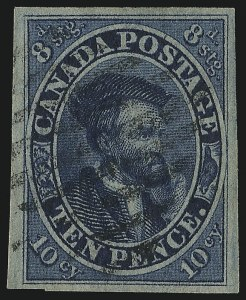 Sale Number 949, Lot Number 1034, Canada1855, 10p Blue (10), 1855, 10p Blue (10)