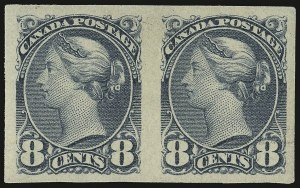 Sale Number 949, Lot Number 1046, Canada1893, 8c Gray, Imperforate Pair (44d), 1893, 8c Gray, Imperforate Pair (44d)