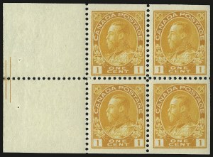 Sale Number 949, Lot Number 1059, Canada1922, 1c Orange Yellow, Booklet Pane of Four and Two Labels, Pyramid Guide (105ai), 1922, 1c Orange Yellow, Booklet Pane of Four and Two Labels, Pyramid Guide (105ai)