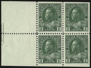 Sale Number 949, Lot Number 1060, Canada1922, 2c Yellow Green, Booklet Pane of Four and Two Labels, Pyramid Guide (107bi), 1922, 2c Yellow Green, Booklet Pane of Four and Two Labels, Pyramid Guide (107bi)
