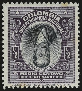 Sale Number 949, Lot Number 1097, China thru Costa RicaCOLOMBIA, 1910, -1/2c Violet and Black, Inverted Center (331a), COLOMBIA, 1910, -1/2c Violet and Black, Inverted Center (331a)