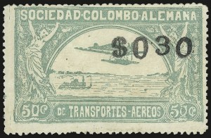 "Sale Number 949, Lot Number 1101, China thru Costa RicaCOLOMBIA, 1921, 30c on 50c green, Ty. ""f"" Surcharge (C23), COLOMBIA, 1921, 30c on 50c green, Ty. ""f"" Surcharge (C23)"