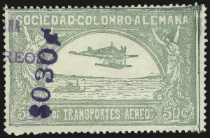 "Sale Number 949, Lot Number 1102, China thru Costa RicaCOLOMBIA, 1921, 30c on 50c green, Ty. ""g"" Surcharge (C24), COLOMBIA, 1921, 30c on 50c green, Ty. ""g"" Surcharge (C24)"