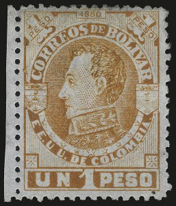 Sale Number 949, Lot Number 1103, China thru Costa RicaCOLOMBIA (Bolivar), 1880, 1p Orange on Bluish Laid Paper (28), COLOMBIA (Bolivar), 1880, 1p Orange on Bluish Laid Paper (28)